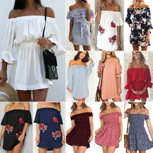 e19fee8b1dc5 Image is loading Womens-Off-Shoulder-Summer-Beach-Mini-Dresses-Ladies-