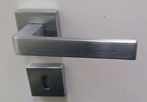 Maniglie per porte interne quadrate moderne cromo satinato e cromo