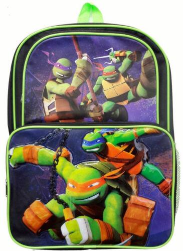 "Backpack 16/"" TMNT Ninja Turtles Green Cargo Multi Compartment School Bag New"