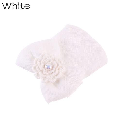 Sweet Newborn Baby Infant Girl Bowknot Pearl Hospital Cap Stripe Soft Beanie Hat