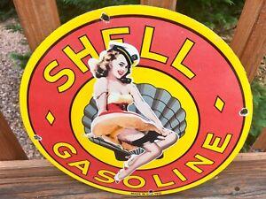Vintage-Shell-Gasoline-Pin-Up-Girl-Heavy-Porcelain-Pump-Plate-Sign-12