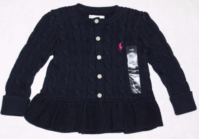 aff0eebd3222 Ralph Lauren Baby Girl Cable Knit Cotton Peplum Sweater Cardigan ...