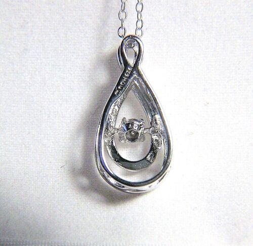 BEAUTIFUL STERLING SILVER SWIRL TEARDROP NECKLACE WITH FLOATING DIAMOND O.OO5 C