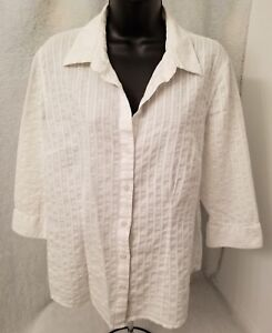 Madison & Max Womens White Striped Design Button Down Shirt Top Blouse Size 14