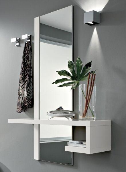 1 Mobile Ingresso Moderno Alba Specchio E Consolle Bianco Lucido Prezzo Di Liquidazione