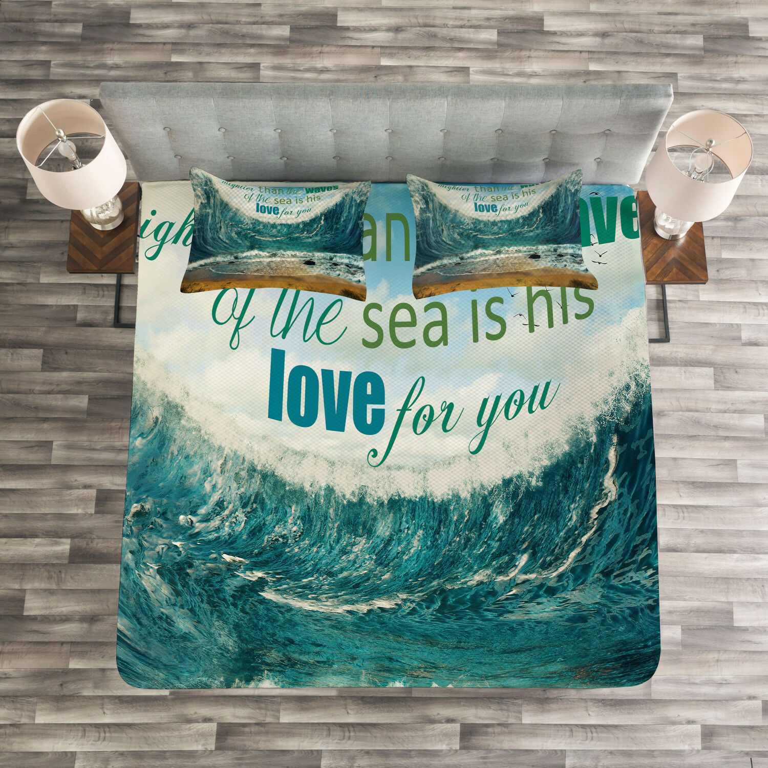 Quote Quilted Bedspread & Pillow Shams Set, Valentines Day Theme Print