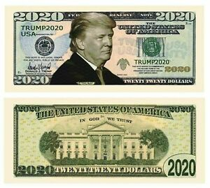 10 TRUMP 2020 RE-ELECTION NOVELTY BILLS ~ COME IN A PLASTIC WALLET TEN