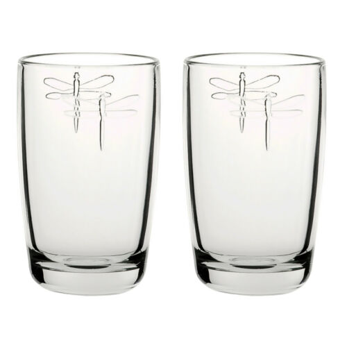 LA ROCHERE Lot de 2 Dragonfly whisky soda verres 40 cl boire de l/'eau décoré verre