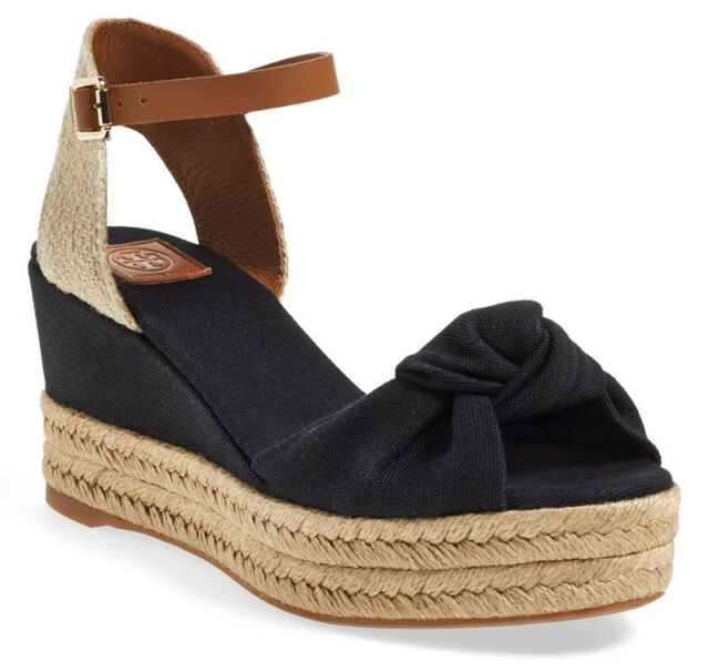 726879fc0145 NIB TORY BURCH Knotted Bow Wedge Espadrille Platform Sandals 6.5 Black Royal  Tan