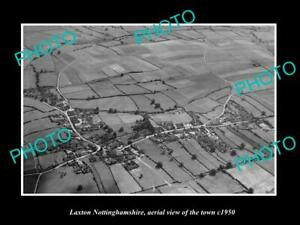 OLD-LARGE-HISTORIC-PHOTO-LAXTON-NOTTINGHAMSHIRE-ENGLAND-TOWN-AERIAL-VIEW-c1950