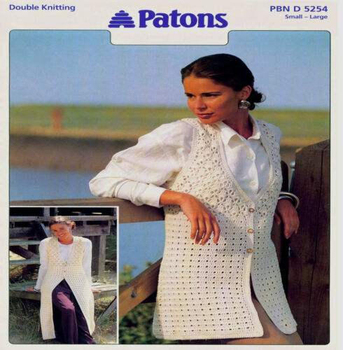 "LOVELY LADY/'S  LONG OR SHORT WAISTCOATS to CROCHET PATTERN 32-45/""  5254"