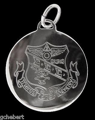 Sigma Sigma Sigma, ΣΣΣ, Tri Sigma Charm Engraved Crest In Sterling Silver
