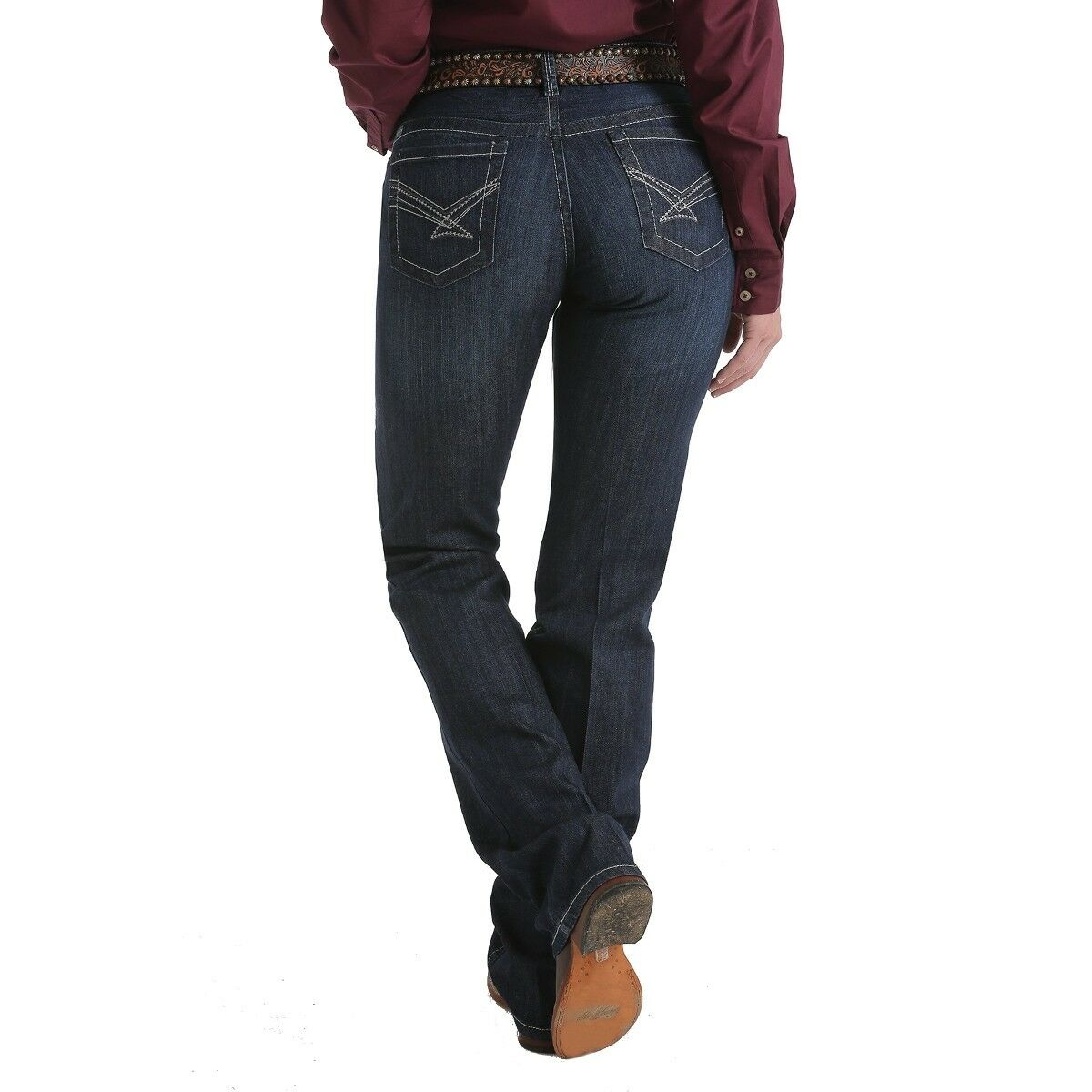 Cinch Ladies' Ada Dark Stonewash Mid Rise Relaxed Fit Boot Cut Jeans