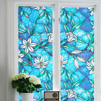 Home Window Film Stained Glass Paper Frosted Decor Privacy 3d Static Flower