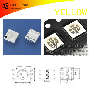 100PCS-SMD-SMT-5050-2020-PLCC-6-3-CHIPS-LED-Yellow-Light-Emitting-Diodes