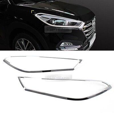 For Hyundai 2016-2017 Tucson Chrome Front Head Light Lamp Cover Molding Trim