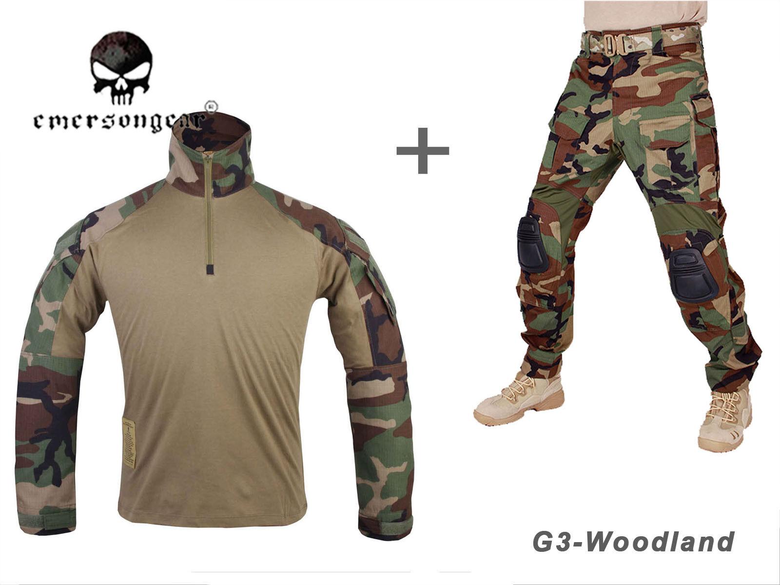 Airsoft Army Tactical Uniform Emerson Combat G3 Uniform Shirt Pants Woodland