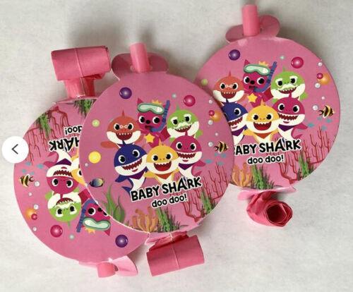 BABY SHARK DooDooDoo Happy Birthday PINK Party BLOWOUTS 10 favors