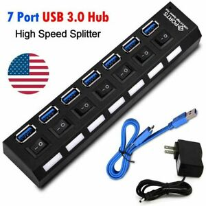 7-Port-Powered-USB-3-0-Hub-On-Off-Switches-Splitter-AC-Adapter-Cable-PC-Laptop
