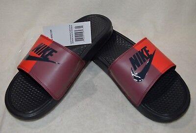 df63ca602 Nike Benassi JDI Mens 343880-008 Red Anthracite Logo Slide Sandals ...