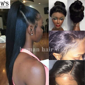 Pre Plucked 360 Lace Frontal Human Hair Wig Glueless Full Head Wigs ... 1b99dc5b3e