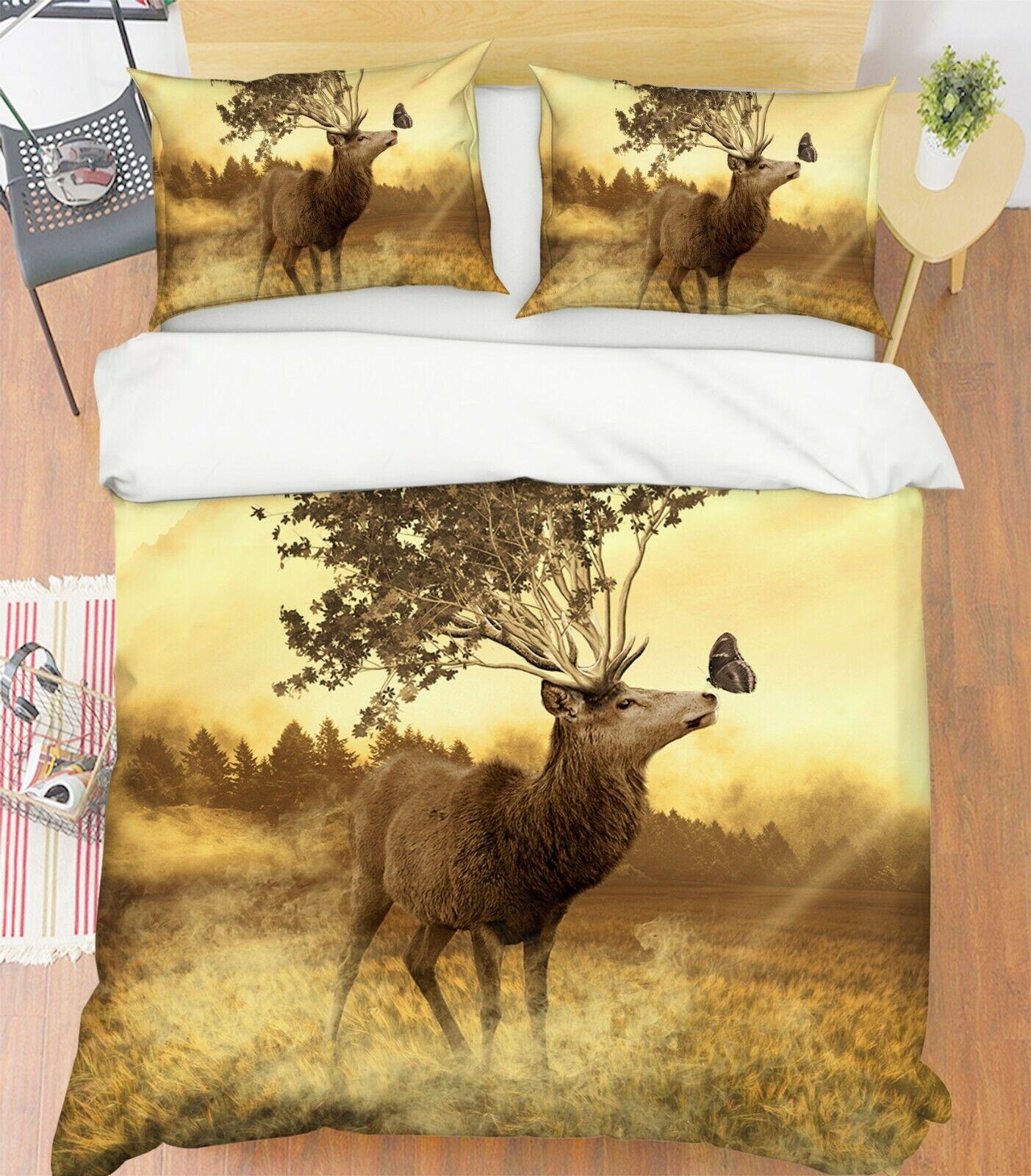 3D Hirsch Tree R126 Animal Bed Pillowcases Quilt Duvet Cover Queen King Zoe