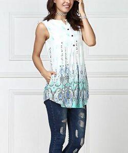 Armelloses-Top-Groesse-12-Damen-Damen-lange-blaue-und-weisse-Bluse-mit-Taschen