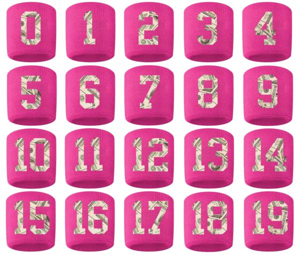 #0-19 Number Sweatband Wristband Football Baseball Basketball Pink Money Print