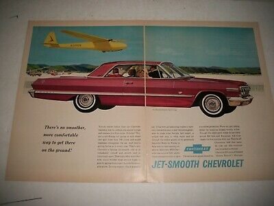 1964 CHEVROLET IMPALA SPORT COUPE LARGE 2 PAGE DOUBLE PAGE PRINT AD GARAGE ART