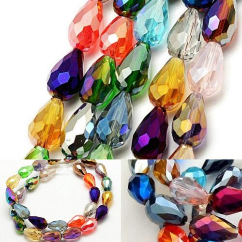 7mm x 5mm Teardrop Faceted Crystal Glass AB Electroplate Bead Loose Dangle A+++