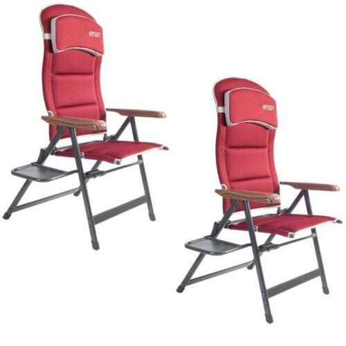 2020 2x QUEST Bordeaux Pro Easy Chaise Avec Côté Table reclinable chaise camping