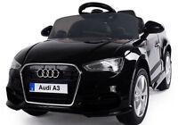 12V RADIO CONTROL JET BLACK AUDI A3 LICENSED KIDS RIDE ON CAR TWIN MOTOR BATTERY