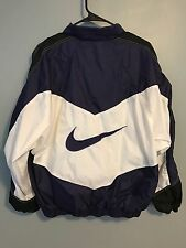 VTG 90s Nike Purple White Black Colorblock Big Swoosh Windbreaker Sz L