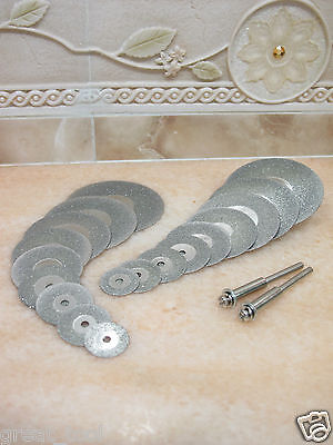 18 x THK Diamond rotary cutting wheel cut off blade disc (16mm - 50mm) 2 mandrel