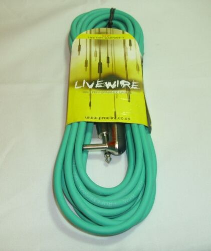 "6m Green Proel Livewire 1//4/"" Mono Jack 1//4/"" Angled Mono Jack Guitar Cable"