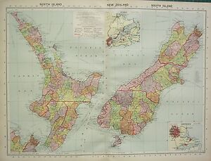 1934 LARGE MAP NEW ZEALAND NORTH SOUTH ISLAND CHRISHCHURCH