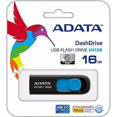 ADATA 128GB 64GB 32GB 16GB Flash Pen Drive UV128 USB 3.0 Memory (AUV128-16G-RBE)