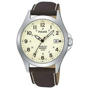 Reloj-Pulsar-by-seiko-Gents-Mens-Kinetic-Leather-Strap-Sports-Watch