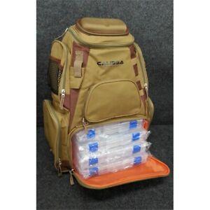Calissa Blackstar XL Fishing Backpack Storage Bag with 4 Tackle Boxes, Tan