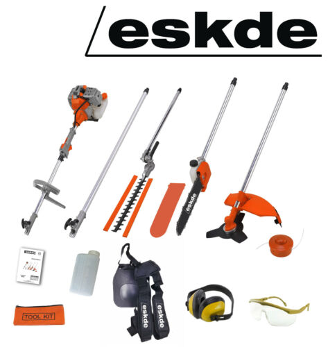 Petrol Brush Cutter Strimmer Hedge Trimmer Chainsaw eSkde 52cc Garden Multi Tool