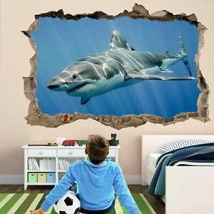 Details About Shark 3d Wall Art Sticker Mural Self Adhesive Poster Kids Room Decor Fm5