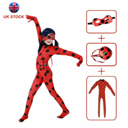 World Book Day Kids Miraculous Ladybug Jumpsuit Cosplay Costume Fancy Dress UK