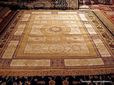 200x300 Tappeto Grande Disegno Gol Nain Persiano Orientale Come Seta Tabriz Oro