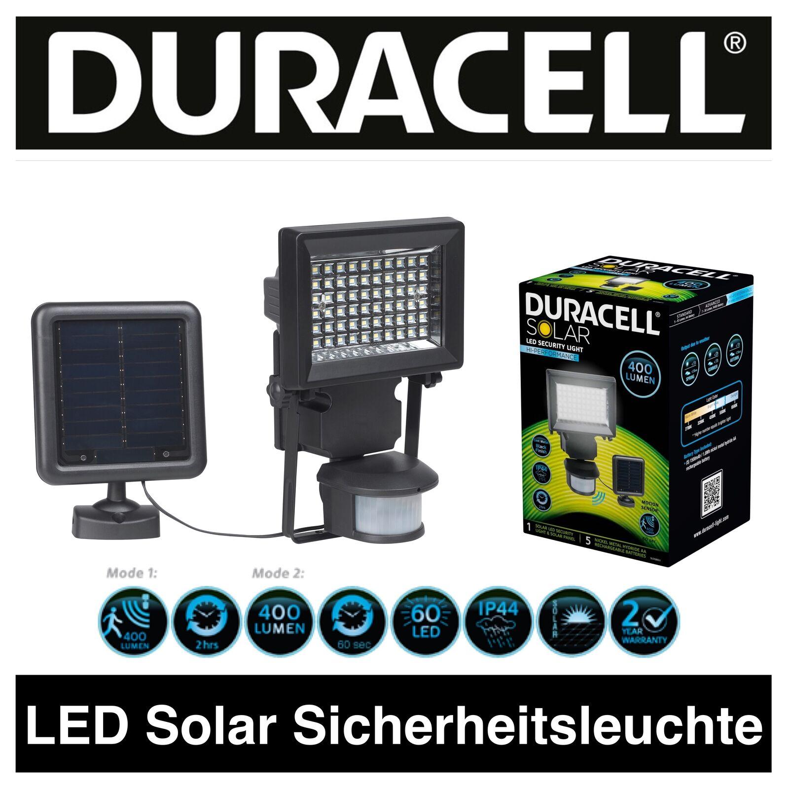 Duracell LED solar lámpara de seguridad casa lámpara con externo panel solar 400lm