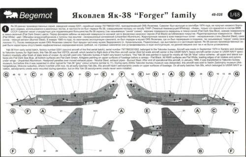 Begemot Decals 1//48 YAKOVLEV YAK-38 FORGER Family