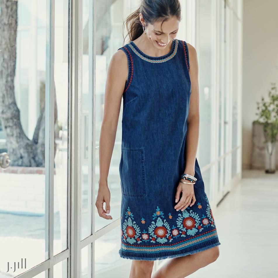 J. Jill - M(10 12) - Fabulous Embroidered Embroidered Embroidered Malibu Wash Multi Denim Dress 68d35a