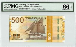 Norway 2018 PMG Gem UNC 66 EPQ 500 Kroner