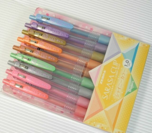 Zebra Sarasa 1.0mm Broad Rollerball pen 9 colours Set Shiny Series NEW Japan