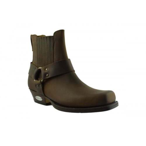 Square da 096 Loblan Boot Toe pelle marroni Biker Chisel cowboy Stivaletti in Western zqEpq