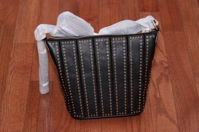 b18a119cd0e4d0 NWT Michael Kors $558 Brooklyn Grommet Medium Feed Bag Purse Crossbody Black